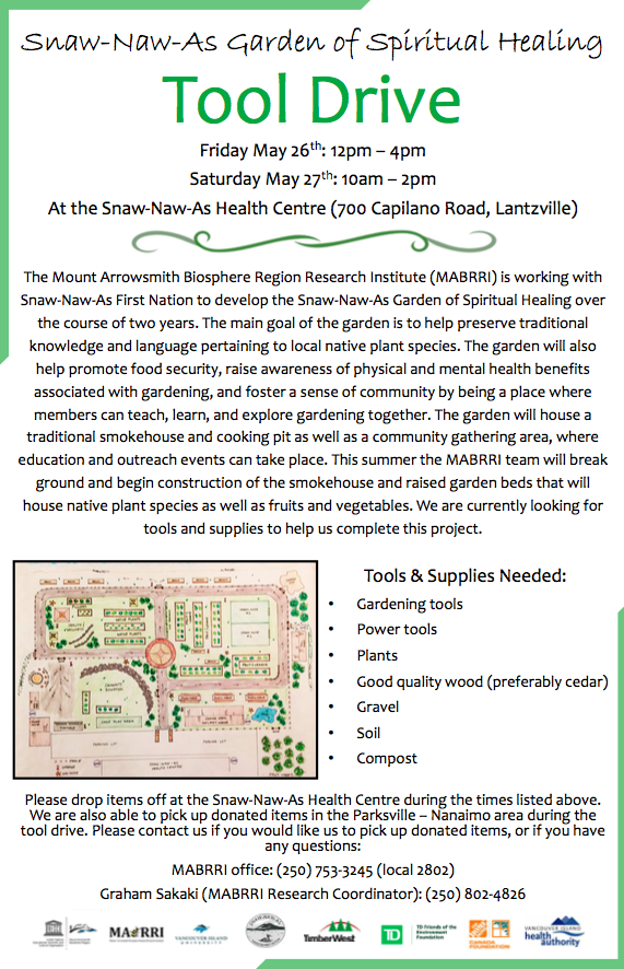 Snaw-Naw-As First Nation Garden of Spiritual Healing Tool Drive