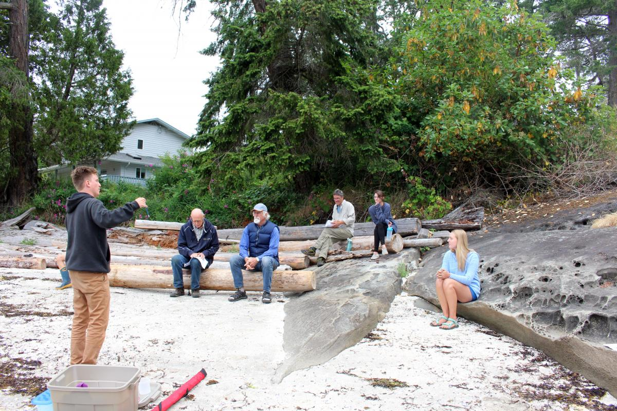 Brian Timmer explaining how to sample to the locals on Thetis Island.